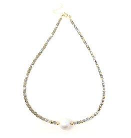 Baroque Pearl & Iridescent Grey Crystal Choker