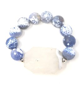 Periwinkle Agate & Agate Chunk Bracelet