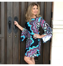 Aryeh Abstract Navy Bell Sleeve Dress