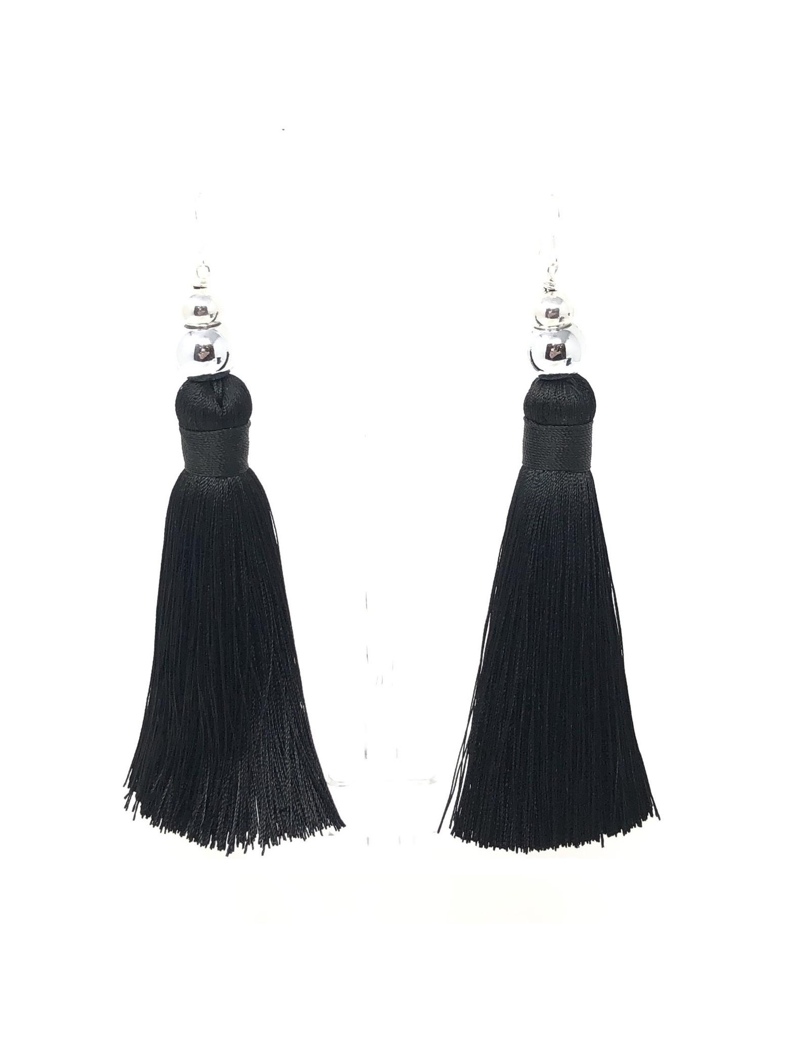Large Black Silk & Silver Tassel Earrings