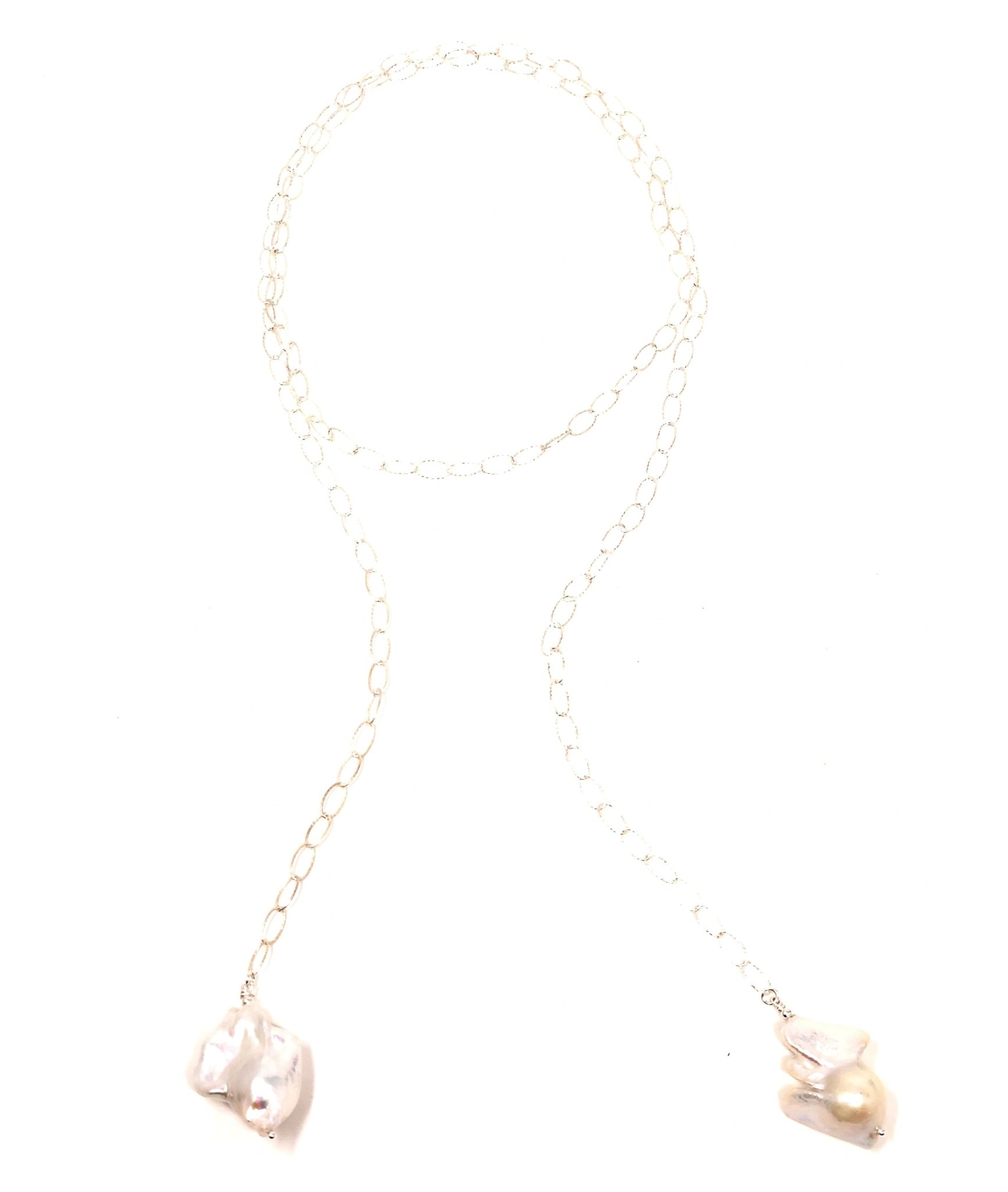 Baroque Pearl & Diamond Cut Chain Lariat