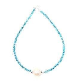 Baroque Pearl & Aqua Crystal Choker
