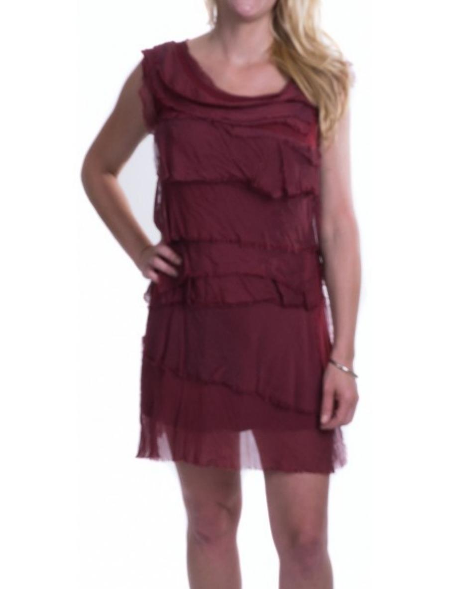 Wine Flutter Dress