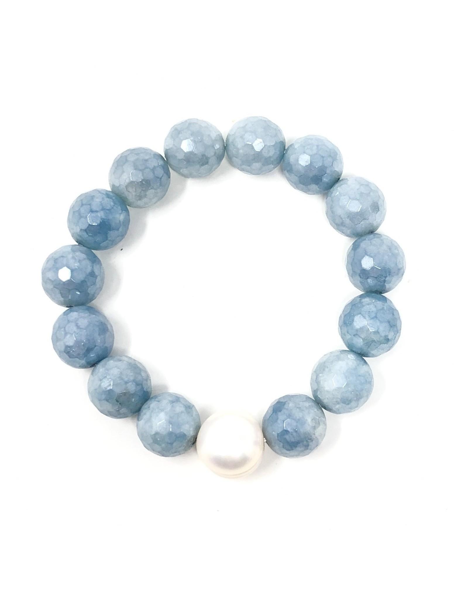 Faceted Aquamarine & FWP Bracelet