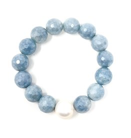 Faceted Aquamarine & FWP Bracelet