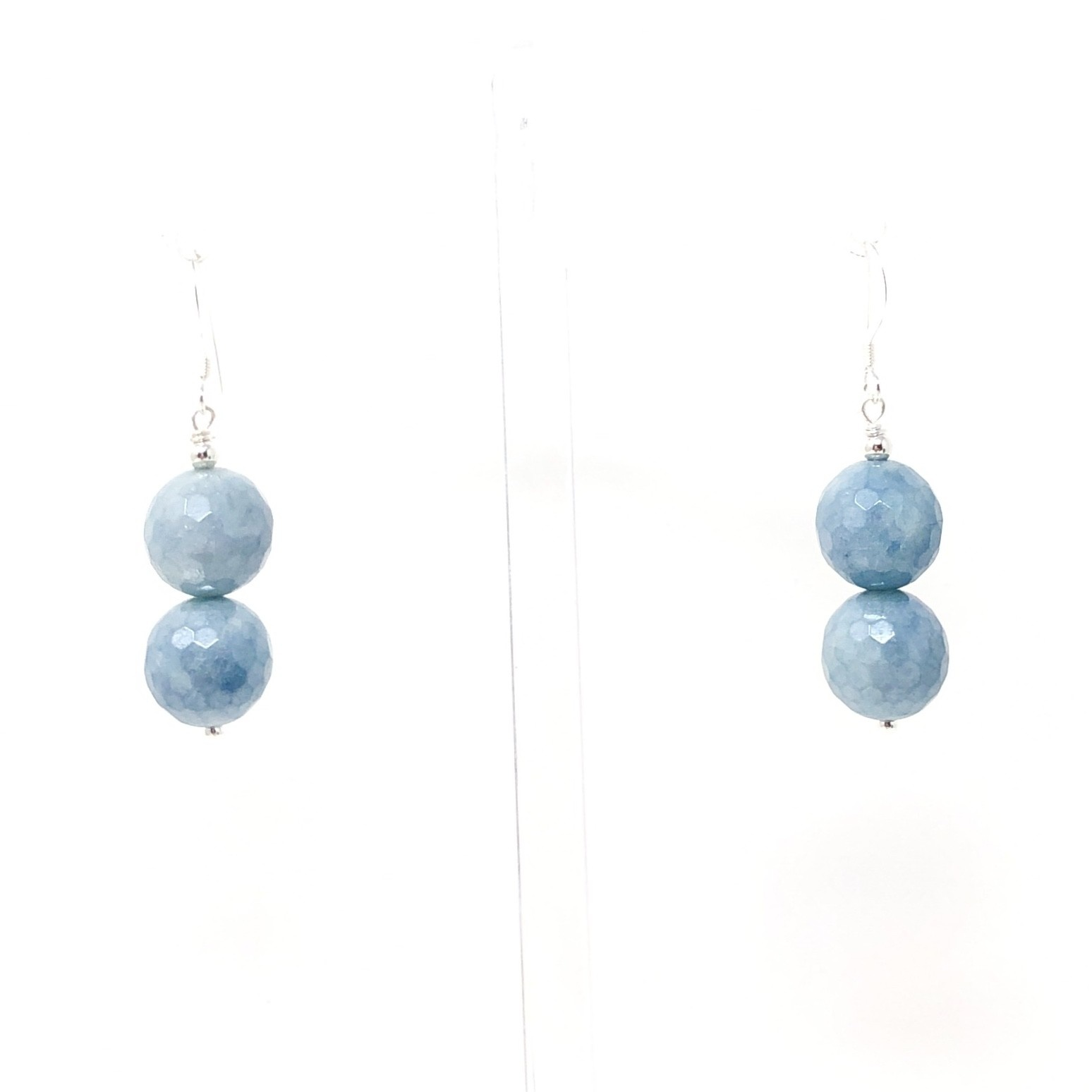 Faceted Double Aquamarine Earrings