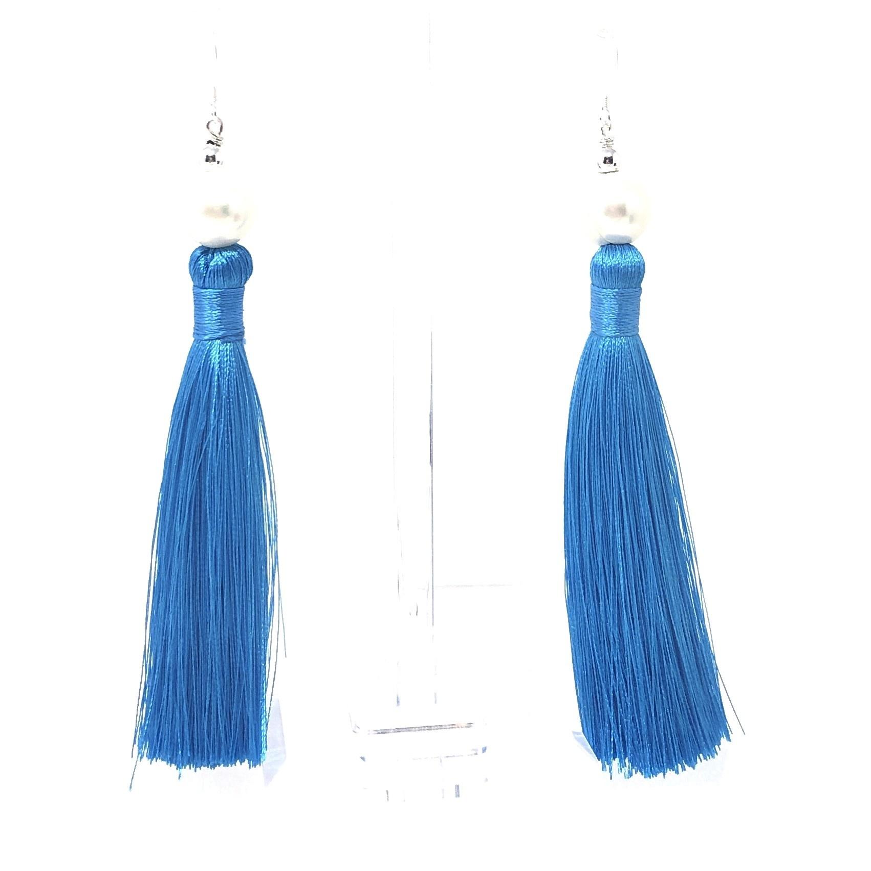 Pearl & Aqua Tassel Earrings