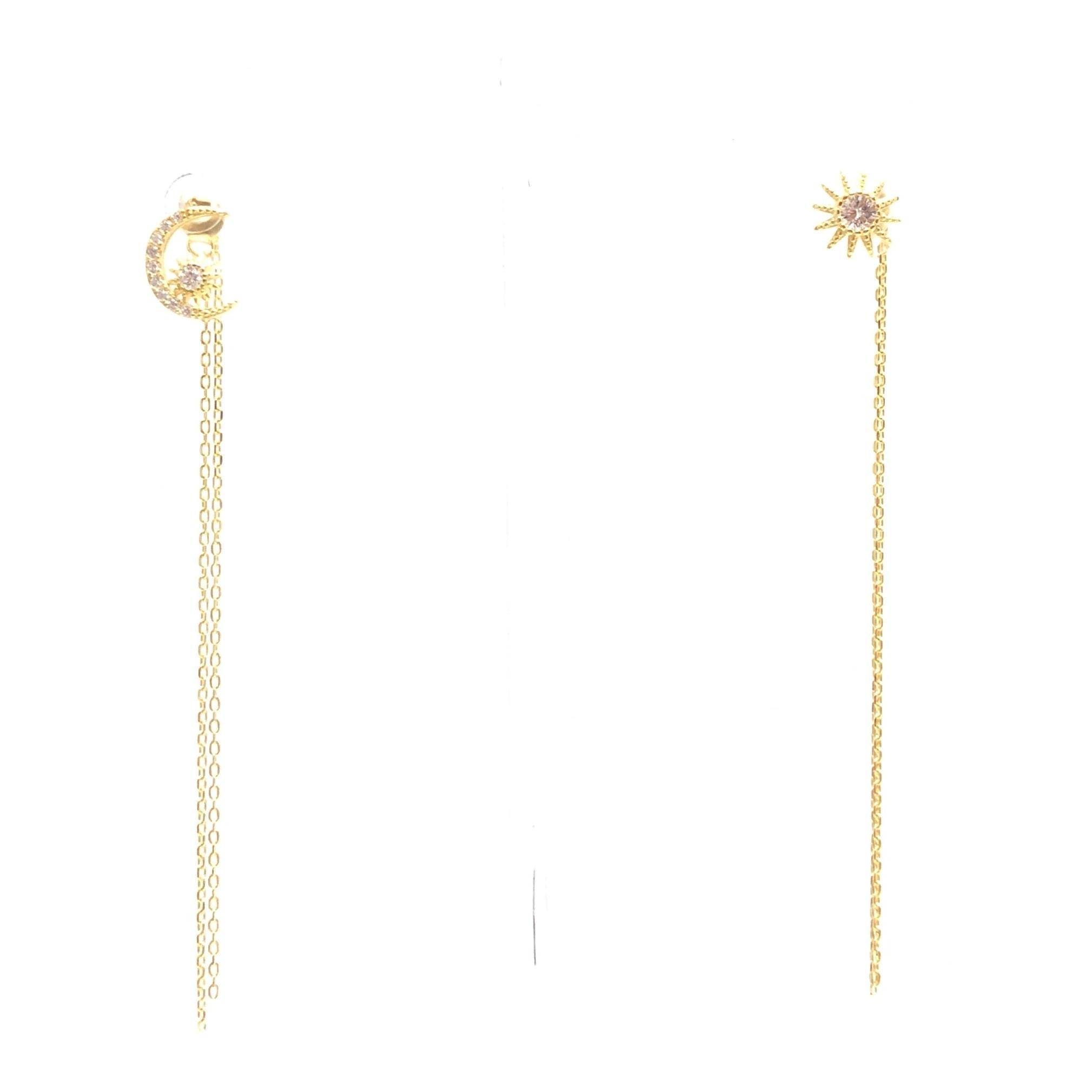 Crescent & Starburst Tassel Earrings