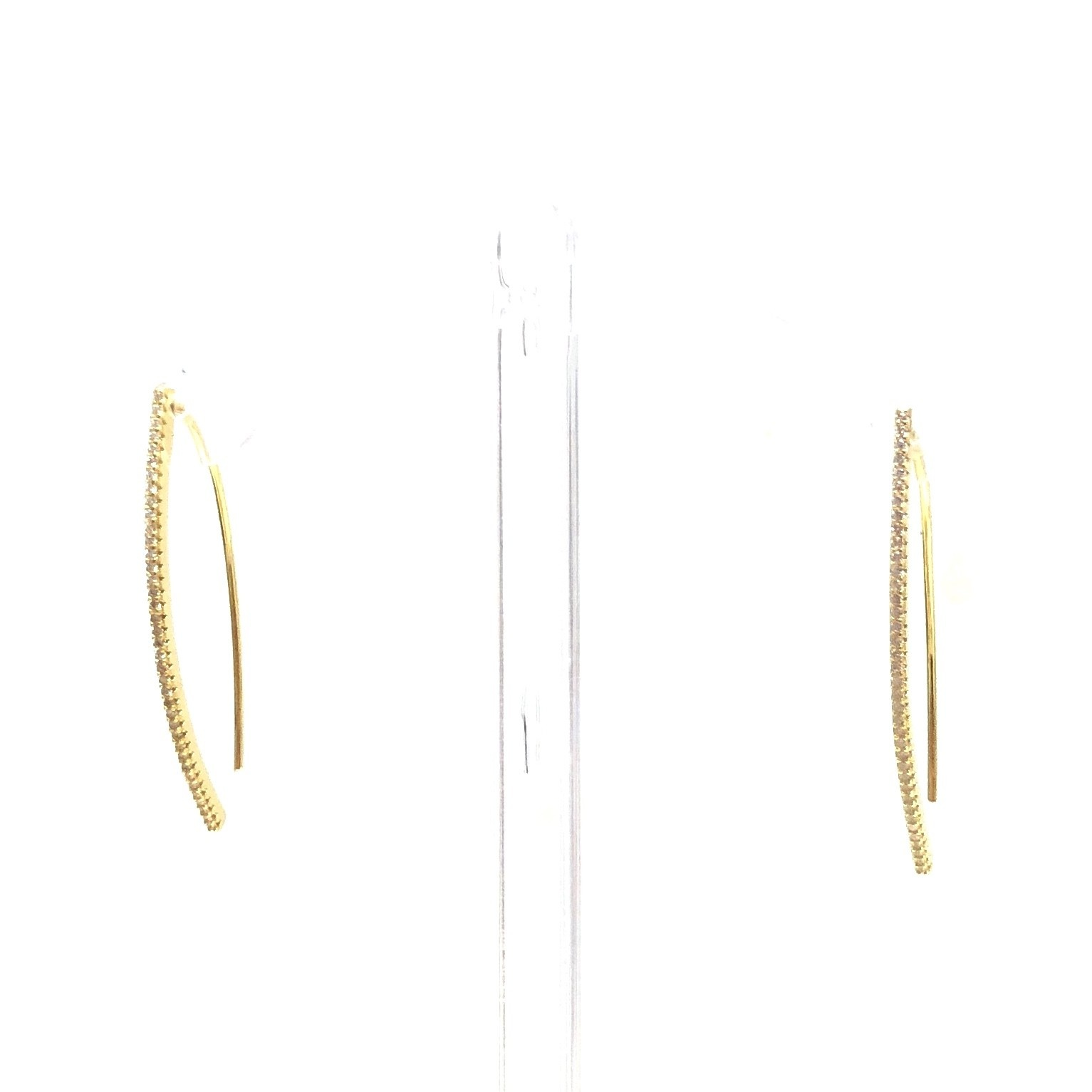 Gold CZ Wire Threder Earrings
