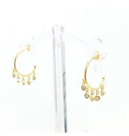 Gold Multi Dangle CZ Hoop Earrings