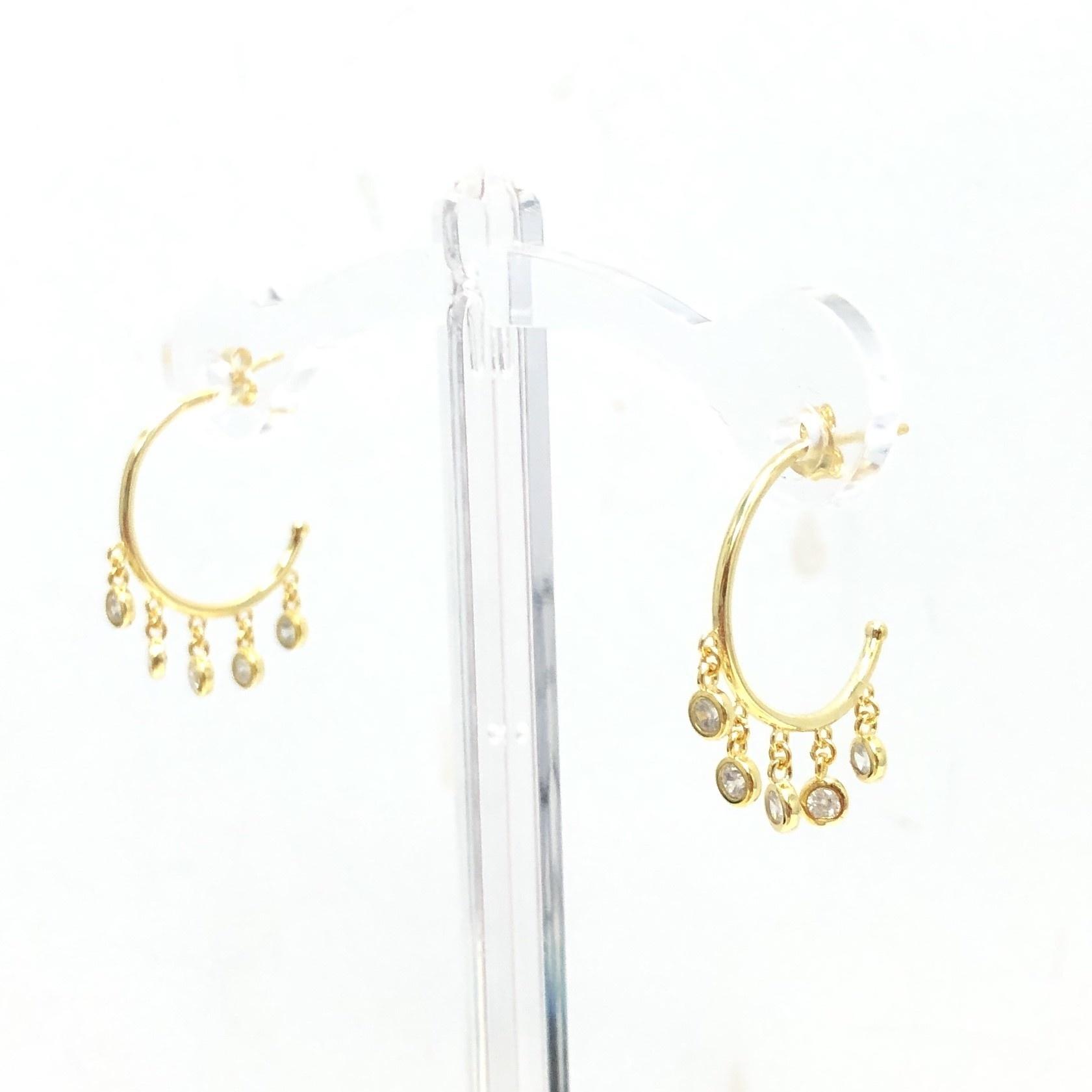 Gold Multi Dangle CZ Hoop Earrings