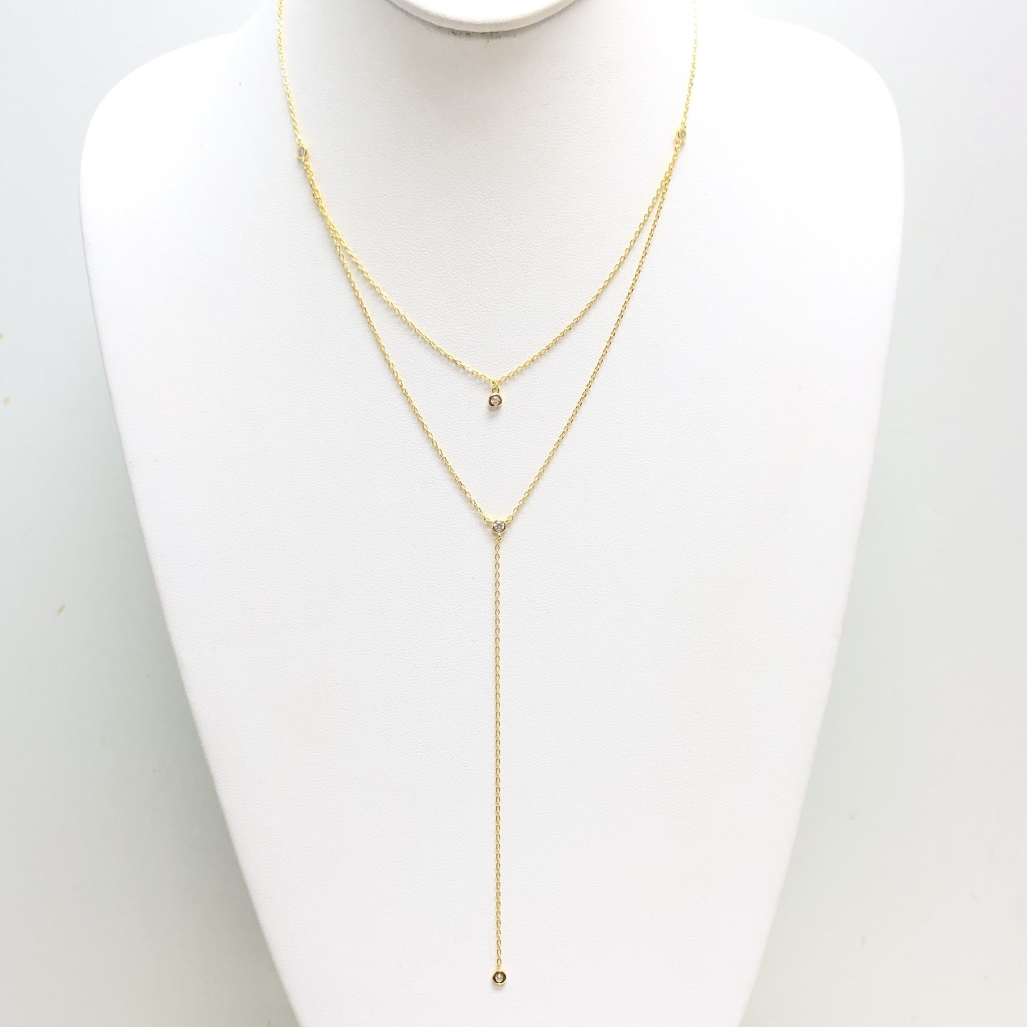 Double Layer CZ Y Necklace
