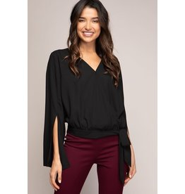 Black Slit Sleeve Top