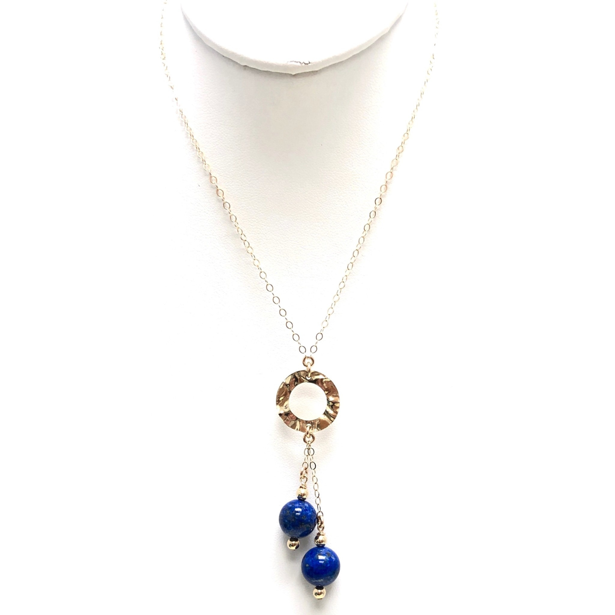 Gold FIlled Lapis Circle Necklace