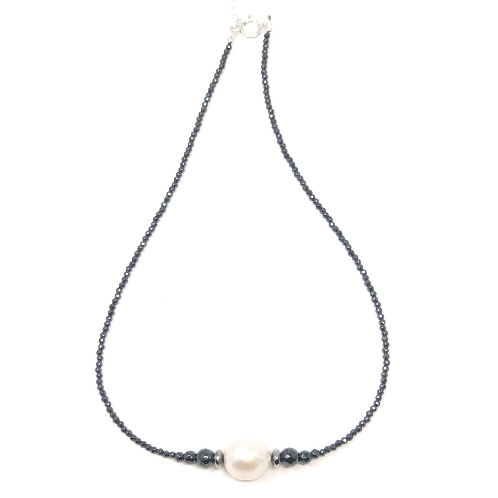 Hematite & Baroque Pearl Necklace