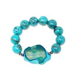 Turquoise (H) & Agate Pendant Bracelet