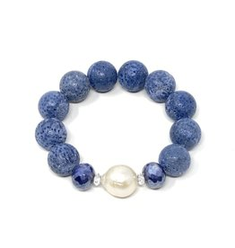 Blue Coral, Coated Moonstone & FWP Bracelet