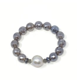 Grey Baroque Pearl & Coated Agate Bracelet
