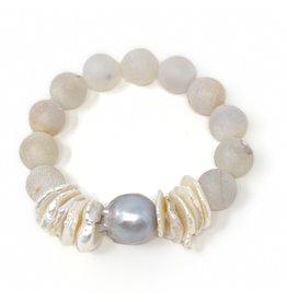 Grey Baroque, Biwa Pearl & Druzy Agate Bracelet