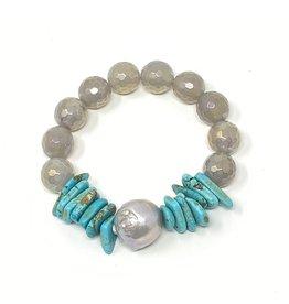 Grey Baroque, Turquoise & Coated Agate Bracelet