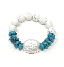 Keshi Pearl, Turquoise & Magnesite Bracelet