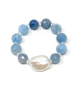 Keshi Pearl & Aquamarine Bracelet