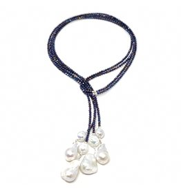 Double Navy Spinel & Baroque Pearl Lariat