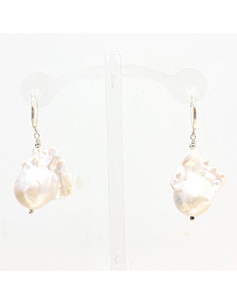 Baroque Pearl Leverback Earrings