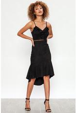 Faux Suede Lace Detail Dress