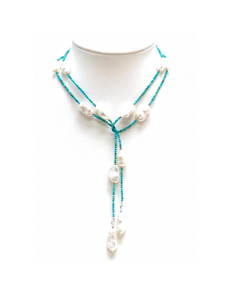Turquoise & Blister Pearl Lariat