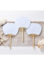 Ikat Blue Paddle Hand Fan