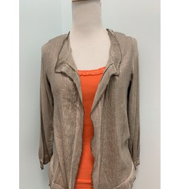 Taupe Raw Trim Sequin Cardigan