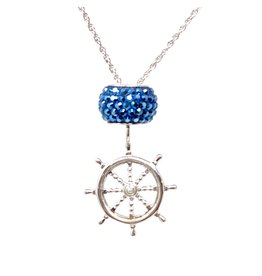 Sterling Boat Wheel & Crystal Necklace