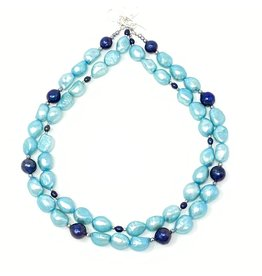 Turquoise & Navy Pearl Double Strand