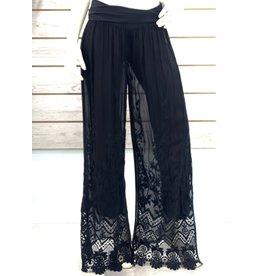 Black Silk & Lace Lined Pants