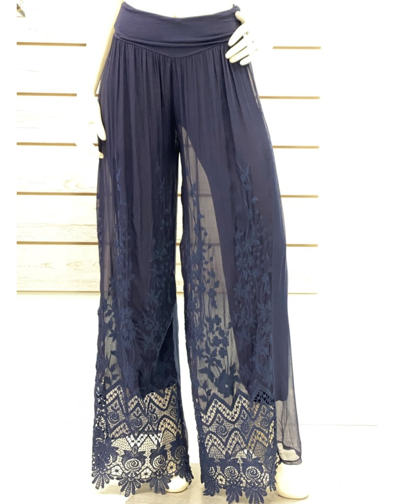 Navy Silk & Lace Lined Pants