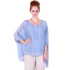Sky Blue Silk Sleeve Top