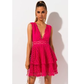 Mad For Love Mad Lace Hot Pink Crochet Mini