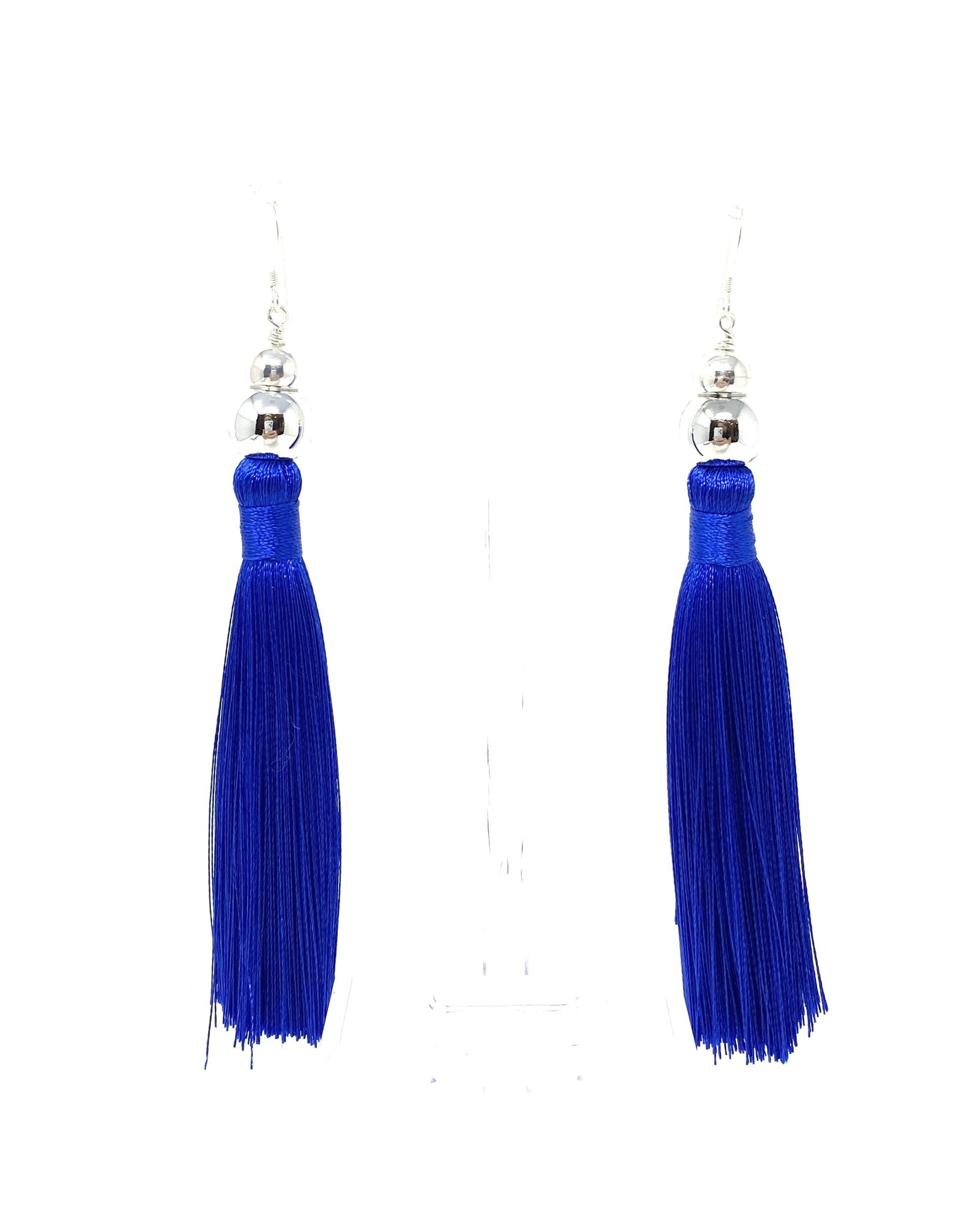 Royal Blue Silk & Silver Tassel Earrings