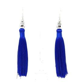 Royal Blue Silk & Silver Tassel Earrings