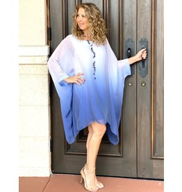 Ombre Navy Silk Goddess Dress