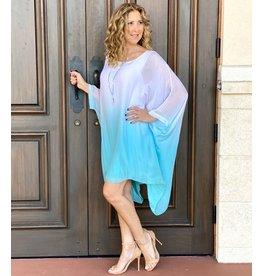 Ombre Turquoise Silk Goddess Dress