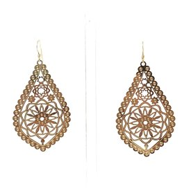 Gold Filigree Pear Earrings