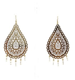 Gold Filigree Crystal Drop Earrings