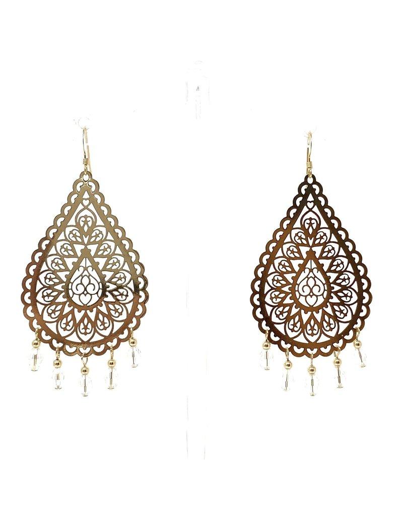 Gold Filigree Crystal Drop Earrings