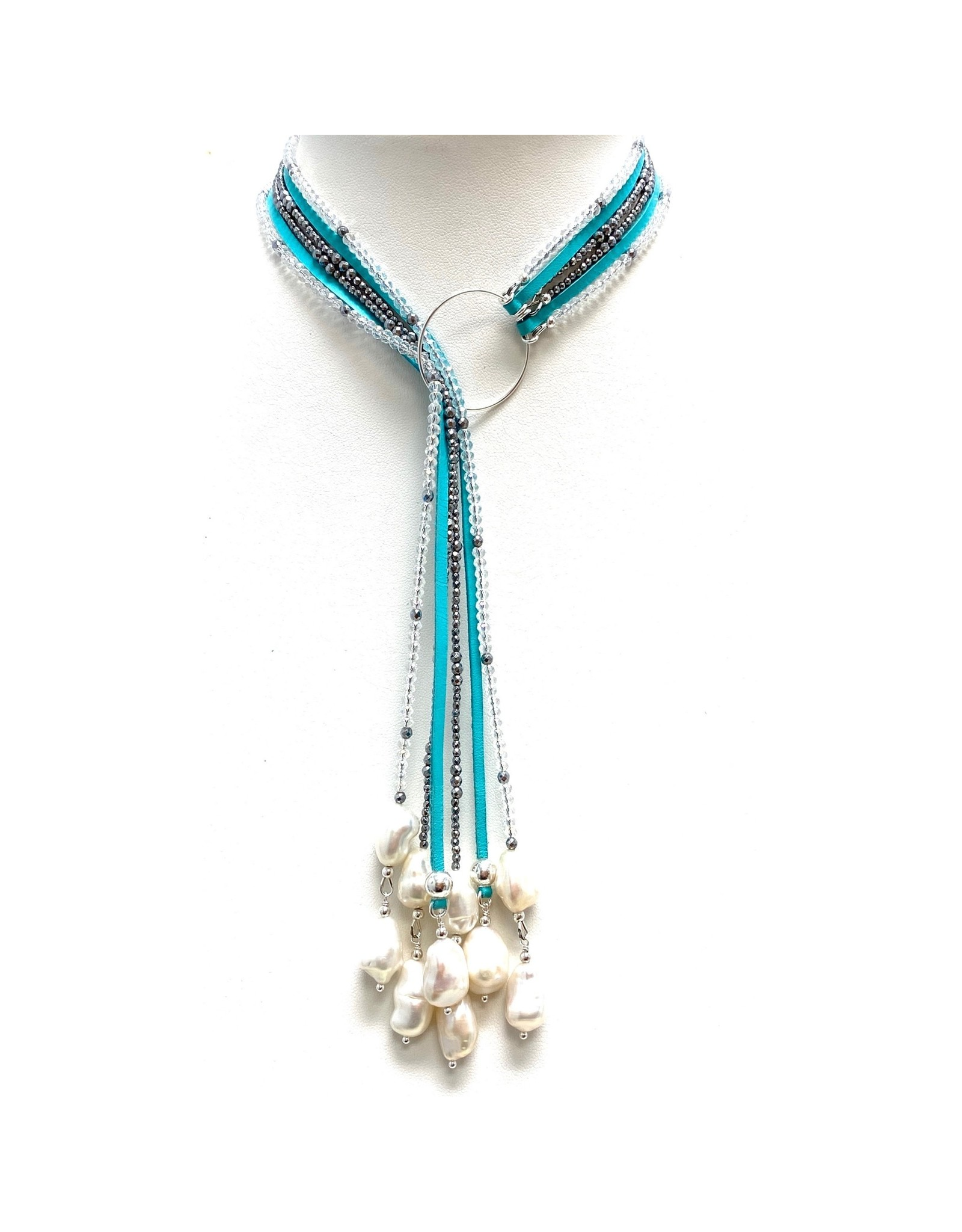 Mixed Media Teal Leather, Hematite, Crystal & FWP Lariat
