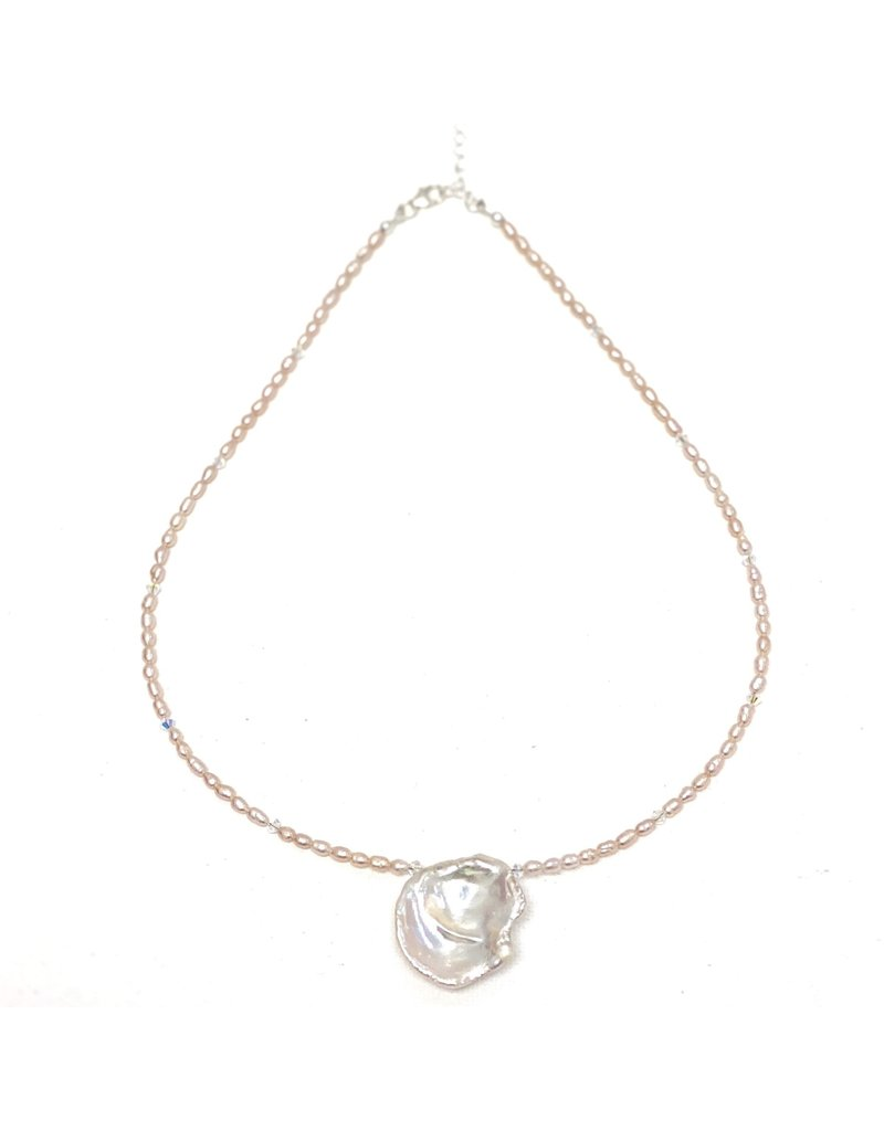 Round Keshi & Blush Rice Pearl Necklace