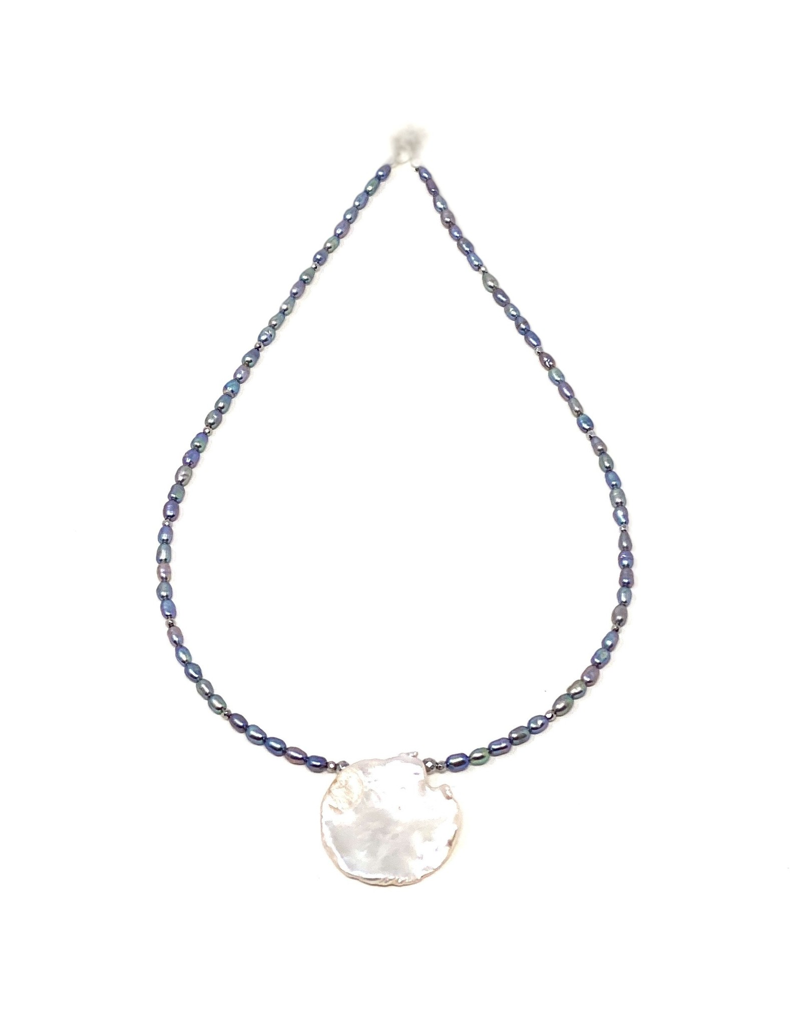 Round Keshi & Denim Rice Pearl Necklace