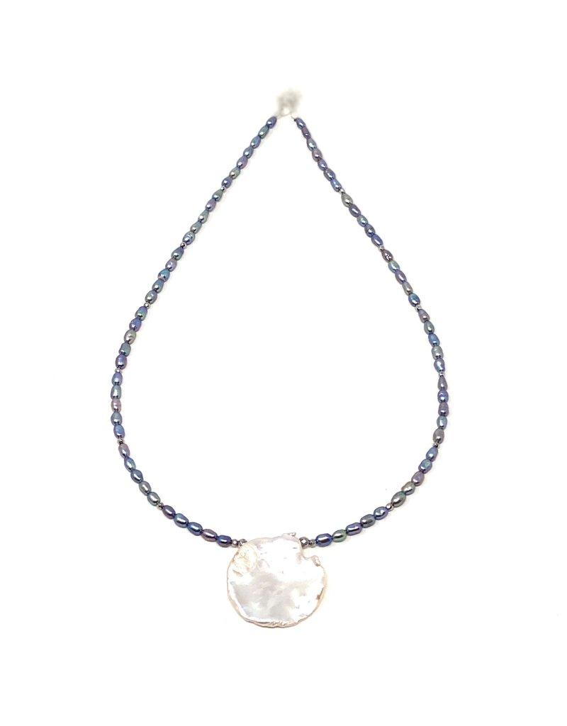 Round Keshi & Denim Rice Pearl Necklace