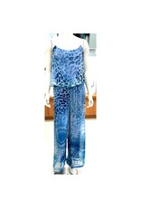 Blue Cheetah Silk Jumpsuit
